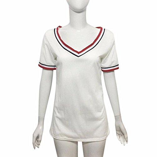 women t-shirt, Transer ® Femmes Casual manches courtes V côtes détail T-Shirt en coton Blanc