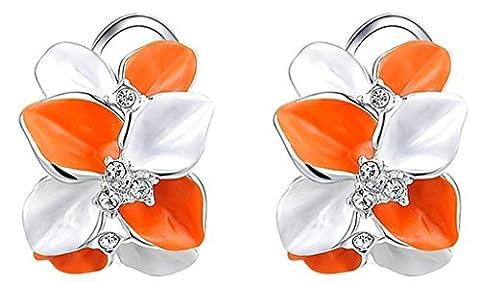 Daesar Gold Plated Earrings Womens Stud Earring Rhinestone Earrings Petals Earring White Gold 1.6X2.1CM
