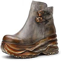 YAN Chaussures Mode pour Femmes Cuir Automne Hiver Plateforme Bottes  Chaussures à Semelle compensée Bottes Confortables 04622ed1fca7