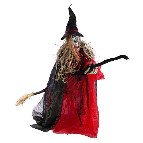 TRA auf Besen mit Soundfunktion, LEDs, 170 cm - Hexenfigur / Dekofigur - showking (Animierte Halloween-hexe)