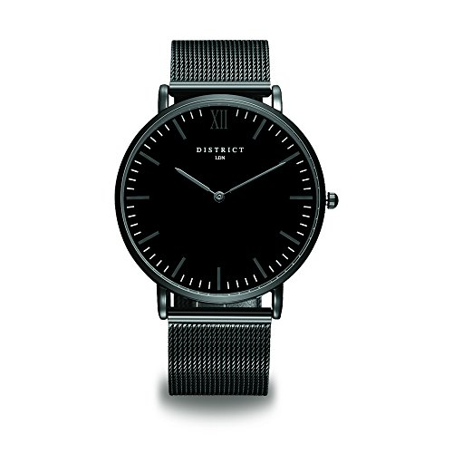 DISTRICT London Knightsbridge Edition Mens Thin Watch With Stainless Steel Strap - Mesh Band Quartz Luxury Simple Design Black Dial Business Fashion Wristwatch Scratch Resistant Smart Watches for Men
