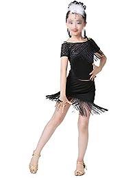 Sunbobo Vestido Formal Niños pequeños para niños Vestido Latino Fiesta asimétrica Ropa de Baile Trajes de