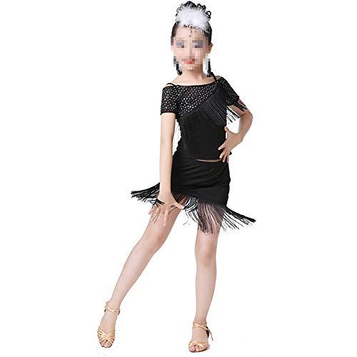 Peggy Gu Kostüm Cosplay Prinzessin Kleinkind Kinder Mädchen Latin Kleid Asymmetrische Party Dancewear Ballsaal Kostüme Schicke Party (Farbe : Schwarz, Größe : (Dance Team Kostüm Kinder)