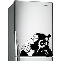 (40x28 cm) Banksy Pared Calco Vinilo Mono Con Auriculares / One Color Chimpancé Escucha para Música en auriculares / Street Graffiti Pegatina + Gratis Adhesivo Regalo