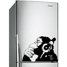 (60x 42cm) Banksy Vinilo Adhesivo decorativo para pared, diseño de mono con auriculares/One Color de chimpancé escucha para la música en auriculares/Calle Graffiti + Gratis Adhesivo Regalo