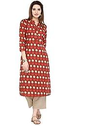 Varanga Red Pure Cotton Printed Kurta KFF-VAR21147