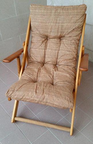 Poltrona sedia sdraio relax in legno pieghevole cuscino imbottito h 100 cm soggiorno cucina salone divano campeggio