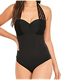 05c3189b4f Figleaves Womens Icon Spot Mesh Detail Halter Neck Underwired Control  Swimsuit - Longer Length