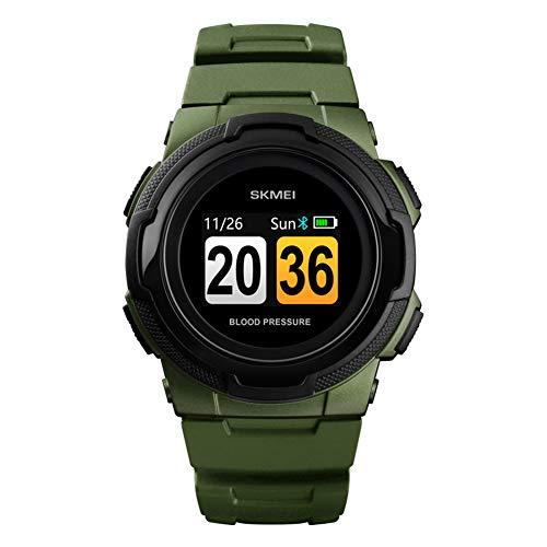 WATCBQ Smartwatch Großbild-Gesundheitsarmband mit Schrittzähler Blutdruck Blutsauerstoff Müdigkeitsüberwachung Multifunktionale Bluetooth-Sportuhr-ArmyGreen -