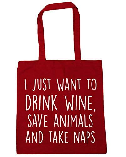 hippowarehouse-i-just-want-to-drink-wine-save-animals-and-take-naps-tote-shopping-gym-beach-bag-42cm