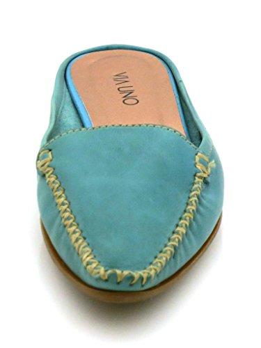 Via Uno Mule En Cuir Chausson En Cuir Mules Chaussures Chausson Cuir 2957 Turquois