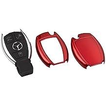 Carcasa embellecedora para la llave Mercedes con mando a distancia, compatible con los modelos C26 Clase A, W168 W169 Clase B, W246 Clase C, W203 W204 CL203 CL204 C204 Clase E, W210 W211 W212 Clase S, W220 W221 CLK W209 E-Coupe C207 SL R230 R231 SLK R171 R172 Viano W639 CLS C219 C218, color rojo metalizado