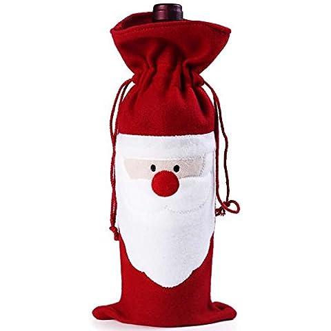 Bei Wang 1Pcs de Navidad Vino rojo de Papá Noel Cubierta Botella Bolsas de mesa de Navidad Cena de decoración del hogar Decoración del partido