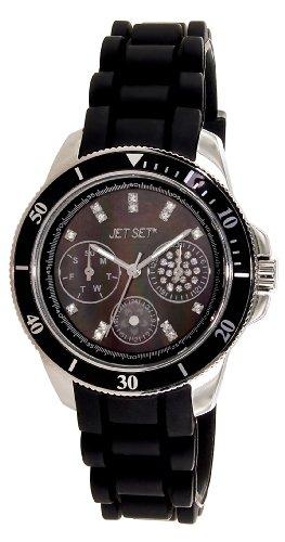 Jet Set - J50962-247 - Amsterdam - Montre Femme - Quartz Analogique - Cadran Noir - Bracelet Caoutchouc Noir