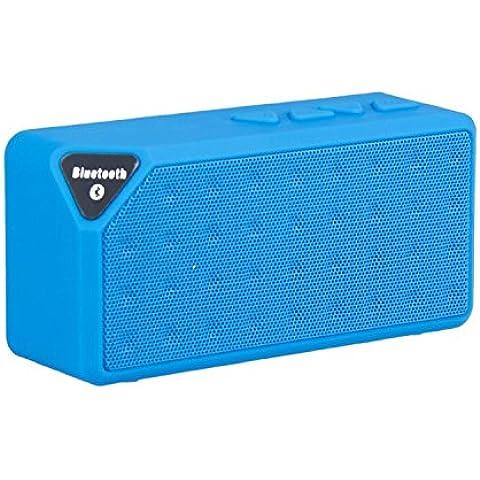 DESOCO X3 Mini altoparlante Bluetooth portatile Wireless mani libere TF FM Radio costruito nel Mic MP3 per mani libere telefonata. (Blu)