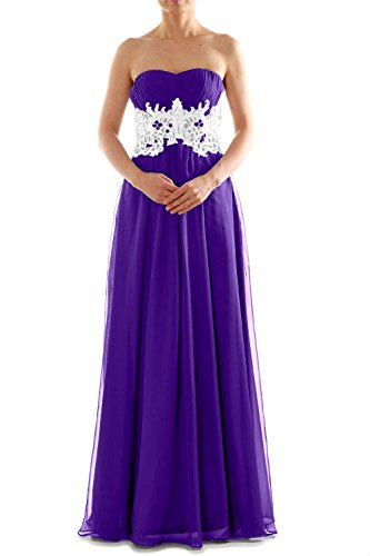 MACloth Women's Strapless Long Lace Chiffon Prom Dress Formal Party Ball Gown purple
