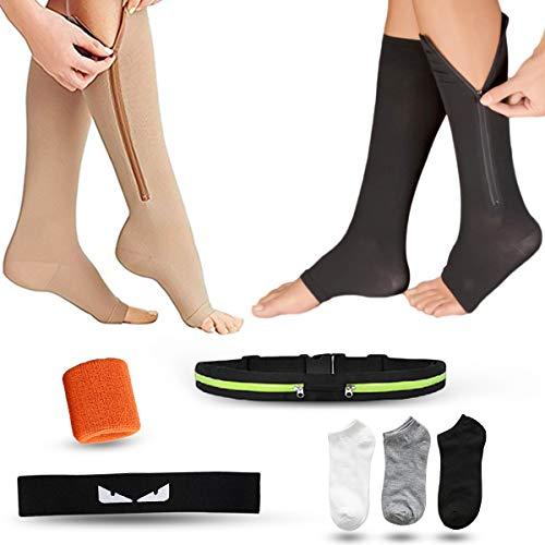 Kniehoch, 2 Paar Kompressionsstrümpfe mit Reißverschluss, Geschenkgürtel, Rucksack, Kopftuch, Armband und drei Paar Socken, geeignet für Beine, Krampfadern, Ödemen oder Outdoor-Sportarten