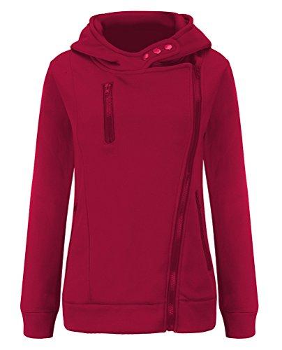 Brinny Automne Hiver Femme Mode Coat Glissière Latérale Sweat-shirt Hoodies Manteau Multi-couleur et Multi-taille Rouge Foncé