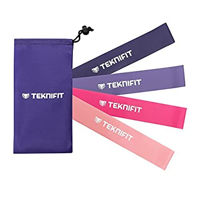 Teknifit Resistance Bands for Women | Select a Set of 4 or Single Bands | 30cm Fitness Loop Band/Squat / Booty Bands in Pink for Home and Gym Workouts | Includes FREE Exercise Guide : everything five pounds (or less!)