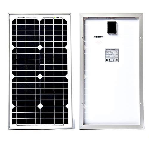 WATTSTUNDE WS Mono Solar 12V Solarmodul Solarpanel monokristallin für Camping Outdoor Wohnwagen Wohnmobil Vorverkabelt mit MC4 Steckern und IP68 Anschlussdose (30W)