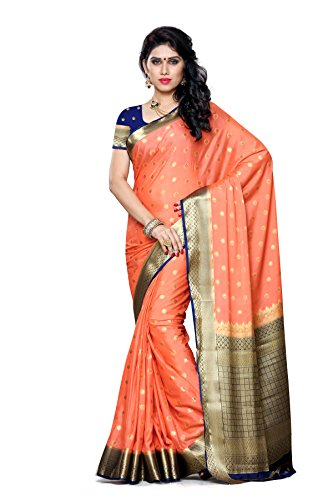 Mimosa Women's Traditional Crepe Silk Saree Kanjivaram Style With Blouse Color:Peach(3312-2087-PCH-NVY )  available at amazon for Rs.1699