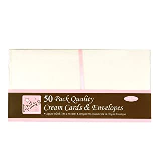 Anita's Square Card and Envelope, Pack of 50, Cream