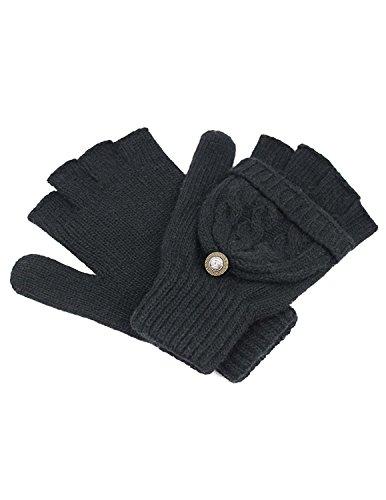 Dahlia Women's Winter Wool Flip Top Gloves - Cable Knit - Black