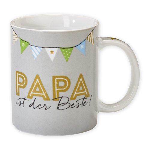 """H:)PPYlife 44073 Tasse """"Papa ist der Beste!"""", Porzellan, mehrfarbig, Geschenktasse"""