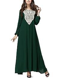 Highdas mujeres musulmanas de manga larga de encaje flojo vestido de las túnicas árabes de empalme