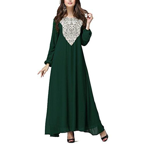 hibote muslimische Frauen Langarm lose Spitze Kleidung, die neuesten Mode-Splicing arabischen Gewändern grünen Kleid L (Die Angst-formel)