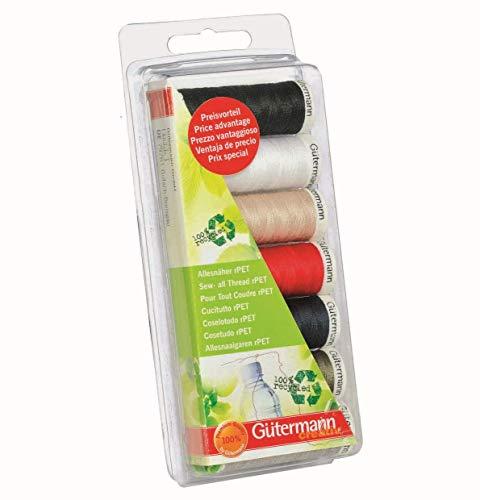 Gütermann rPET Allesnäher Set 100 Prozent Recyceltes Polyester 7 Spulen Je 100 Meter Nähmaschinengarn Nähgarn Garn Faden Machinengarn Multicolor -