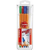 Stylo feutre pointe fine - STABILO point 88 - lot 4 stylos-feutres effaçables + 1 effaceur