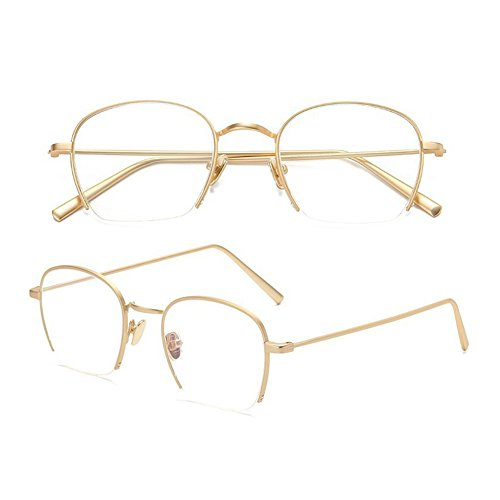 Z&HA Teenager Student Gläser Nicht Verschreibungspflichtige Optische Linsen Flache Spiegel Rahmen Half Frames Gold Umrandeten Brillen Transparent Klar Trends Ultralight Brille,Golden (Brille Umrandeten Silber)