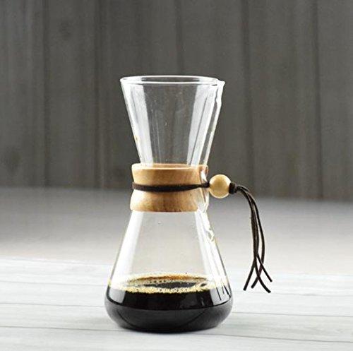 Cerveza de café de Vidrio Resistente al Calor 3 Tazas contadas, Barista Brewer Hot Chemex Coffee Pot (Color : 500 ML Wooden Handle)
