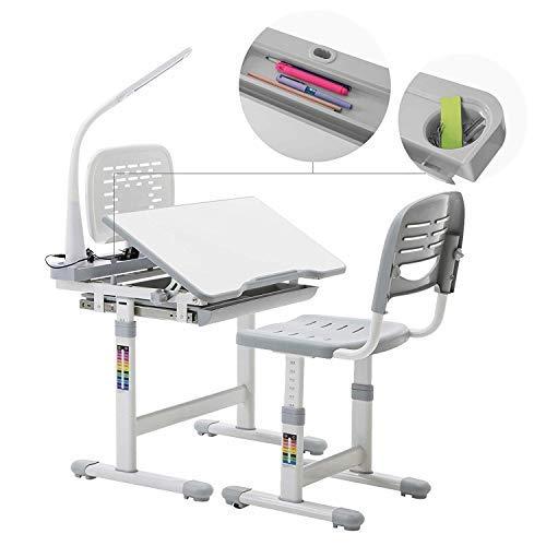 mecor Kinderschreibtisch mit Stuhl und Schublade, Höhenverstellbar Schülerschreibtisch Jugendschreibtisch für Kinder, Multifunktionale Schreibtisch Set, Arbeitsplatz mit Lagerung, inkl. Lampe/Grau