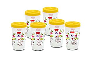 Princeware Twister Packing Container Set, 1.23 Litres, Set of 6, Yellow