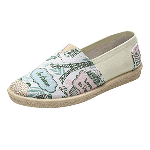 Schuhe, Resplend Slip on Sneaker Weibliche Cartoon Print Flache Schuhe Atmungsaktiv Espadrilles Turnschuhe Outdoorschuhe