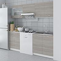 Lingjiushopping Set Küche Schränke Optik Holz Eiche 5Stück 200cm Eigenschaften: Hängeelemente Pfannen preisvergleich bei billige-tabletten.eu