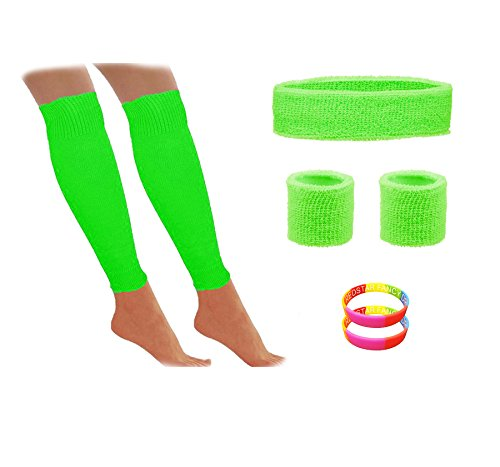 80s Workout Set with UV Fluorescent Sweatbands, Leg Warmers and Bangles
