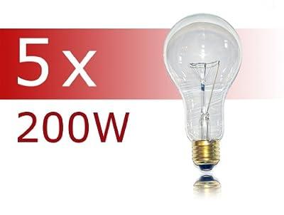 5 x Glühlampe Glühbirne 200W 200 Watt klar E27 stoßfest Glühbirnen Glühlampen
