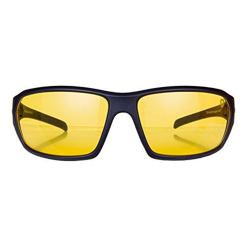 Tom Martin UV-400 Protected Sunglasses -Hector - Sports Wrap – Matte Black (Men - Translucent Yellow Lens)
