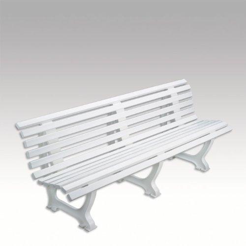 Bank, Kunststoffbank, Gartenbank, Parkbank, Sitzbank, weiß, 200 cm