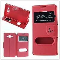 MISEMIYA - Coque Étui pour Samsung Galaxy A5 2016 (A510F) - Étui + Protecteur Verre Trempé, COVER-CRUZADA avec support,Red