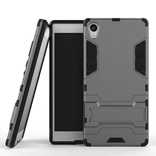 Z5 Premium Case, 2 in 1 Neue Armour Tough Style Hybrid Dual Layer Rüstung Defender PC Hartschalen mit Standfuß Stoßfestes Gehäuse Für Sony Z5 Premium ( Color : Blue Black , Size : Z5 Premium ) Gray