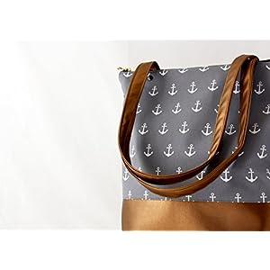 Graue Kupfer Anker Handtasche Messenger Bag