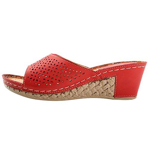 Alexis Leroy Mules détente Sandales Compensée Mode femme Rouge