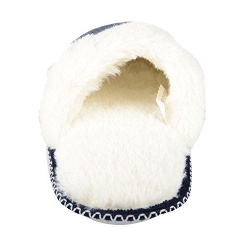 Valentina Maglia da donna Mule-Pantofole da donna in pelliccia sintetica, interno & suola antiscivolo Navy