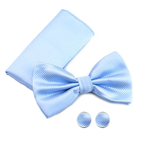 Fliege Schleife Set mit Einstecktuch Manschettenknöpfe kariert edel Satin Seidenglanz einfarbig unicolor für Smoking Hochzeit Anzug von DesiDo, Farbe Fliege:Hellblau