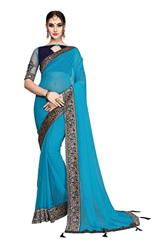 Soru Fashion Georgette Saree (4012_Sky Blue_5.5 Meters)