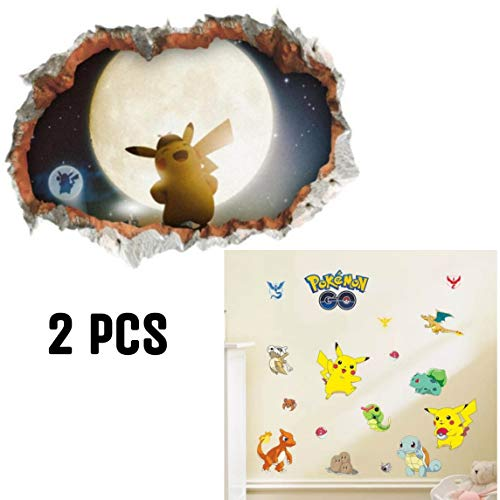 er | Pikachu Wandtattoo für Kinder Wandtattoo Pokémon Pikachu Wandsticker Wandaufkleber Wanddeko für Kinderzimmer Babyzimmer ()
